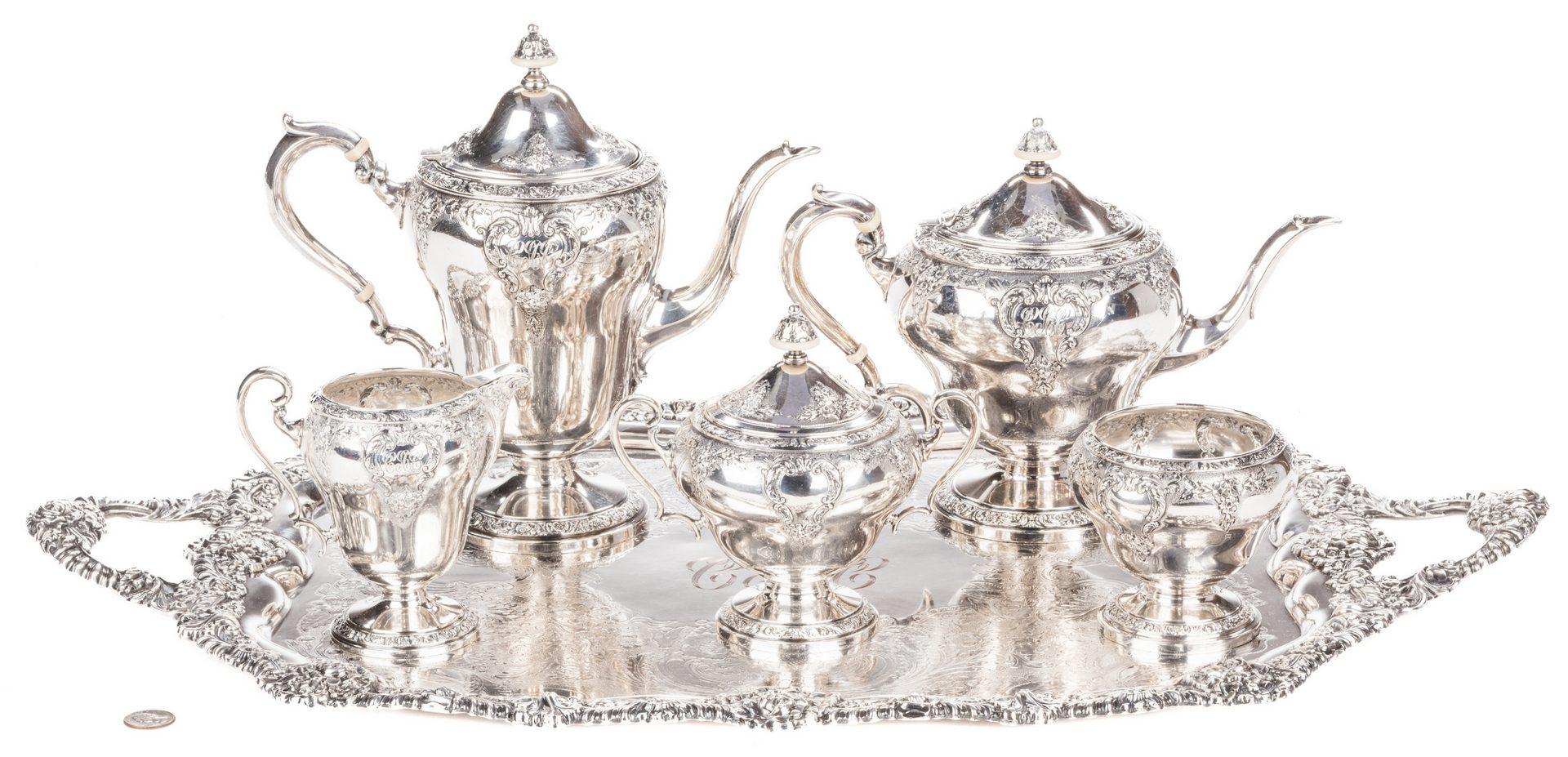 Lot 74: 5-Piece Watson Sterling Tea Service & Tray
