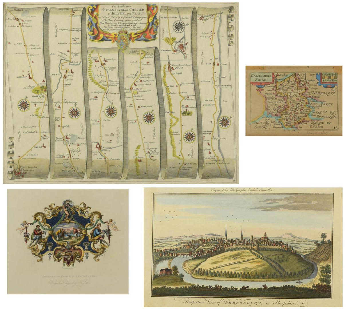 Lot 751: 4 English Maps & Engravings