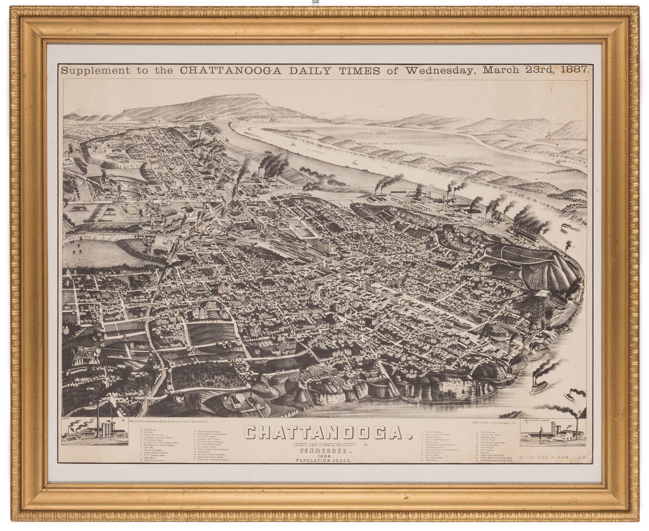 Lot 752: Chattanooga Map, 1887, Wellge