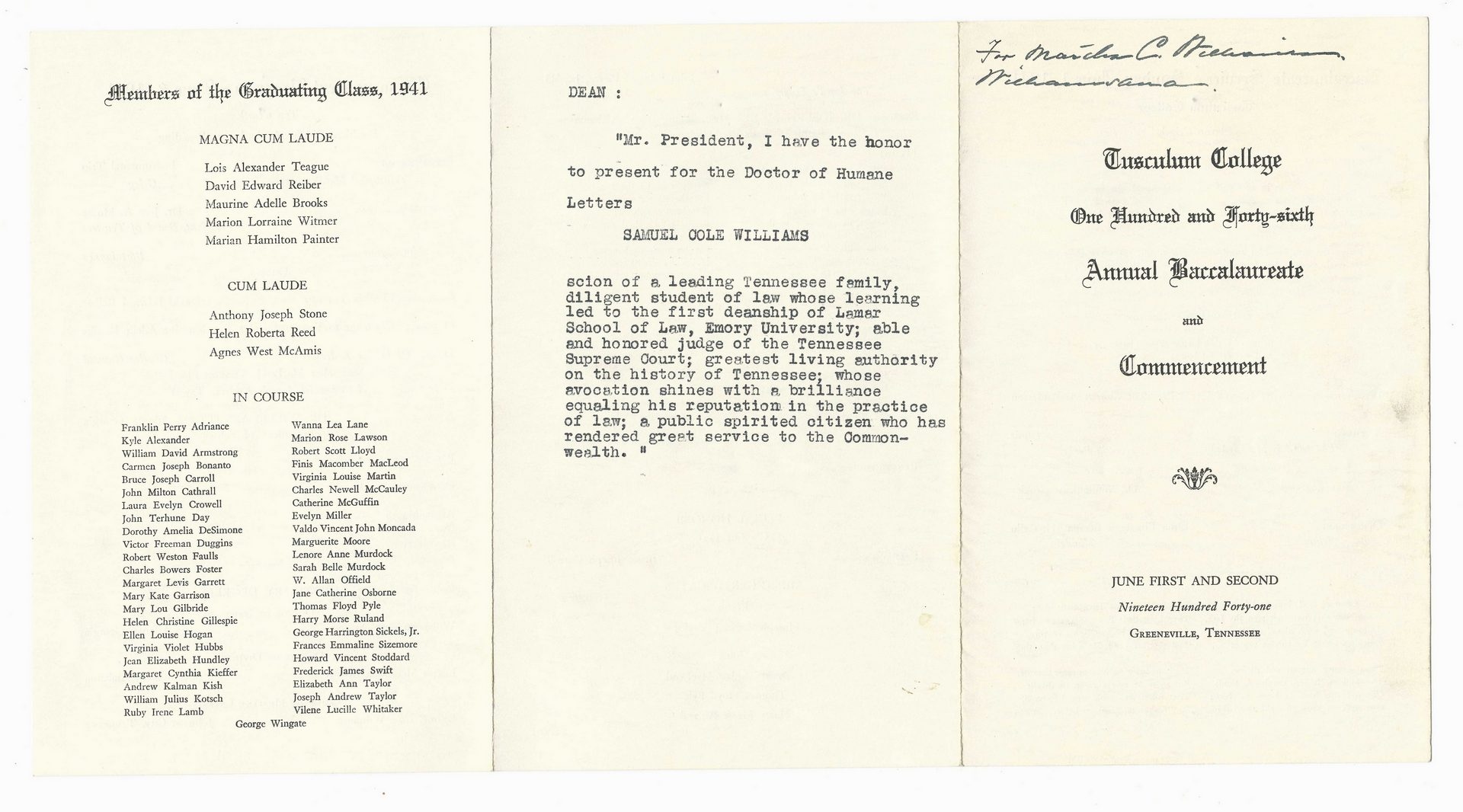 Lot 768: Samuel C. Williams Archives, Tennessee Related Papers & Ephemera