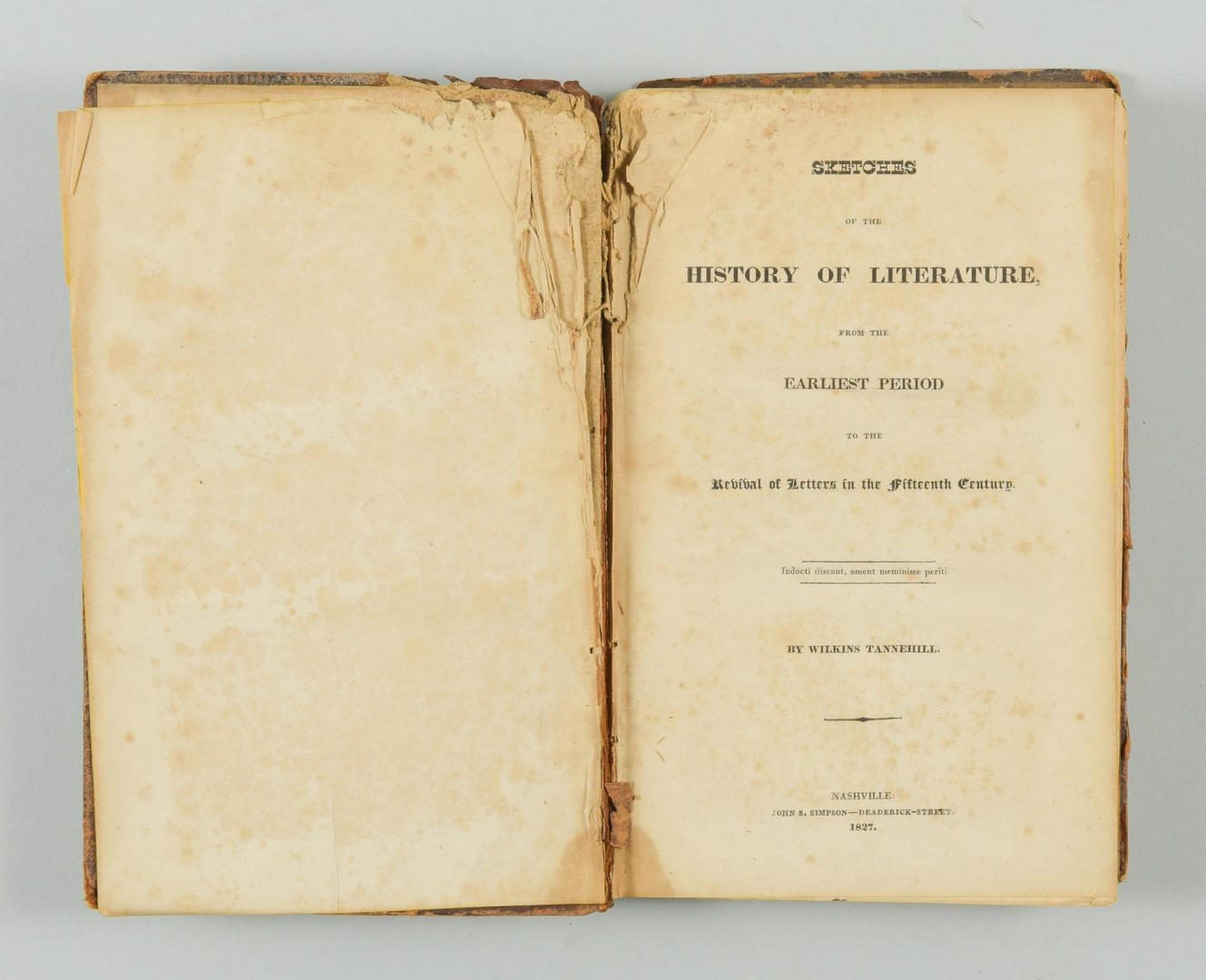 Lot 770: Pair Books: Old Times in West Tennessee (1873) & Sketches of the History of Literature