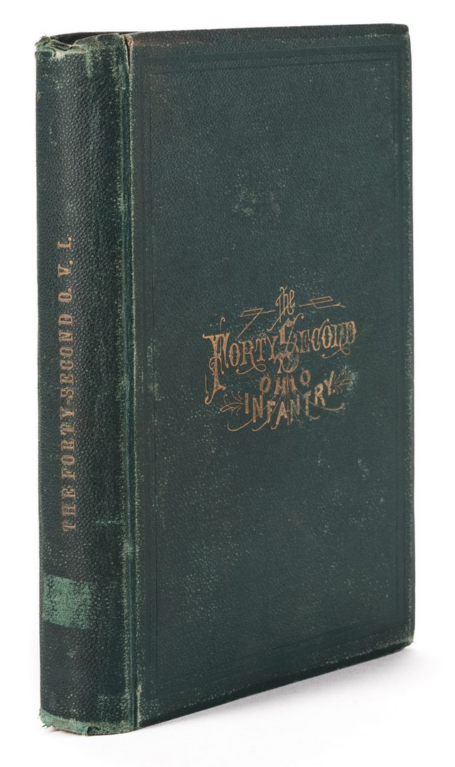 Lot 774: 1876 Book, 42nd Ohio Infantry & Lucretia Garfield Card, 2 items