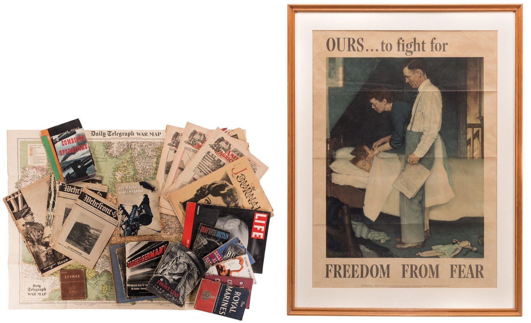 Lot 781: WWII Era Ephemera inc. Rockwell Poster, 22 items