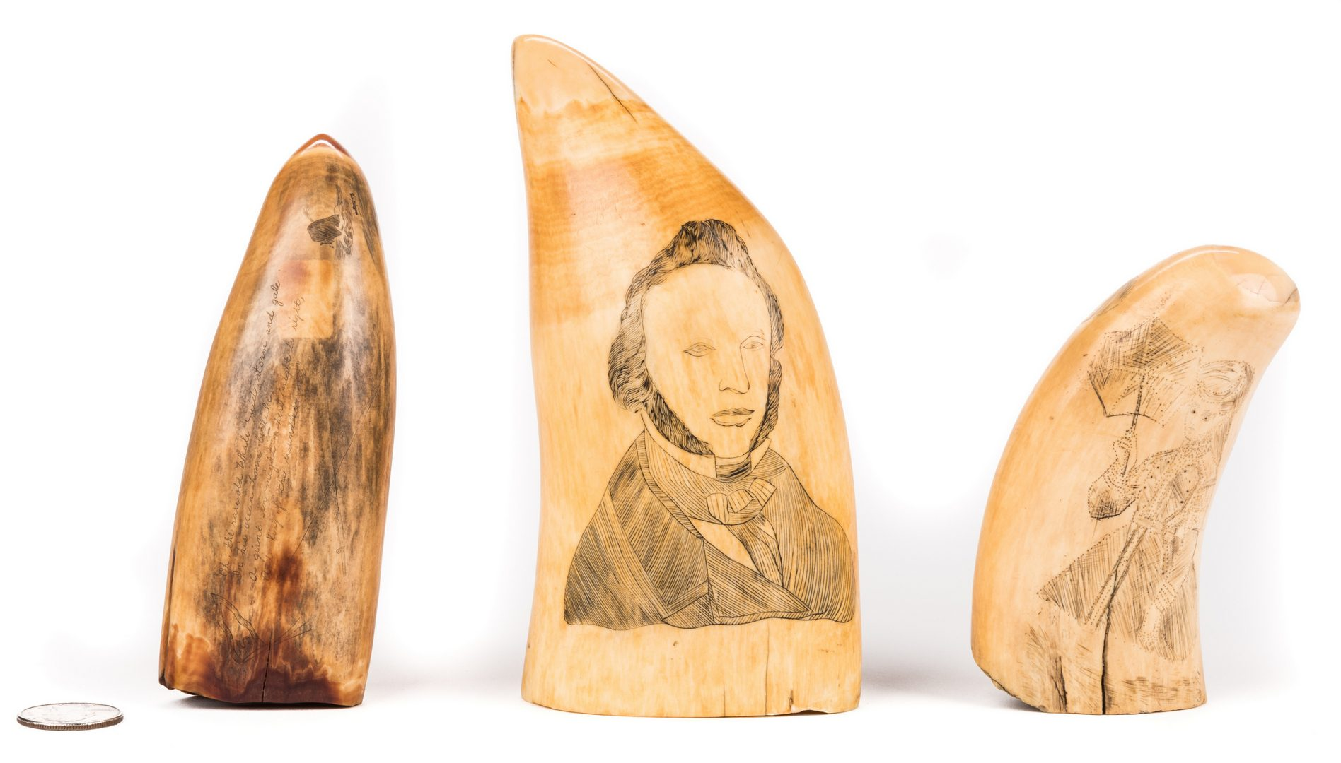Lot 787: 3 19th Cent. Scrimshaw Carved Whale Teeth