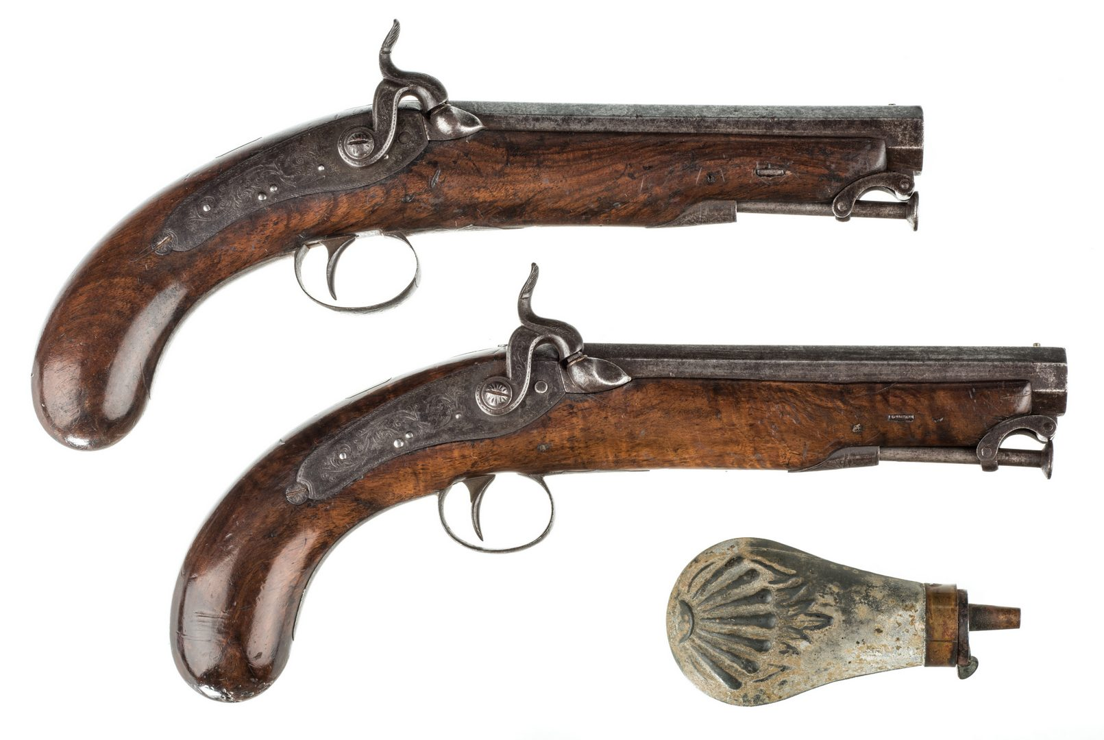 Lot 789: Pr 19th c. English/Scottish Belt Pistols