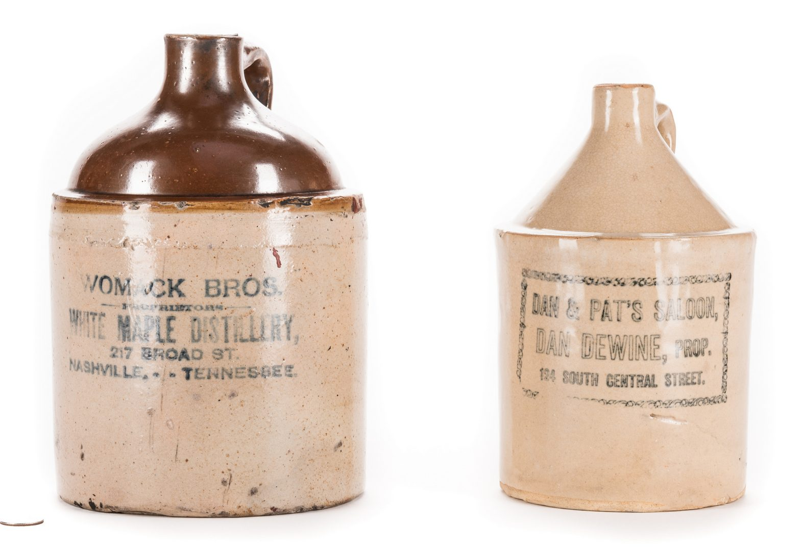 Lot 794: 2 Tennessee Advertising Stoneware Whiskey Jugs