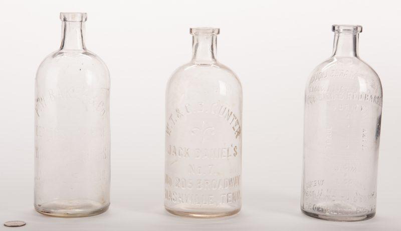 Lot 796: 3 Southern Glass Whiskey Bottles, inc. Gunter Jack Daniels