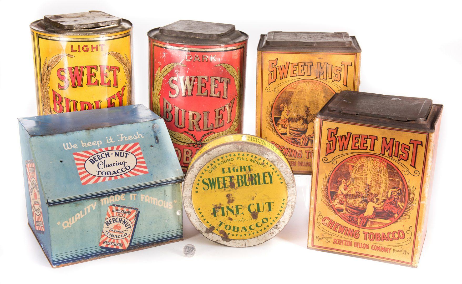 Lot 802: 6 Advertising Tobacco Tins, inc. Sweet Mist, Sweet Burley