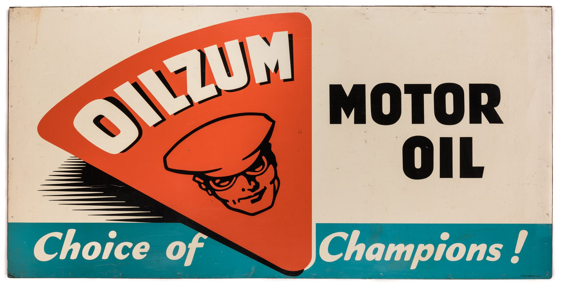 Lot 806: Oilzum SST Advertising Sign, 36 x 72, Wooden Supports