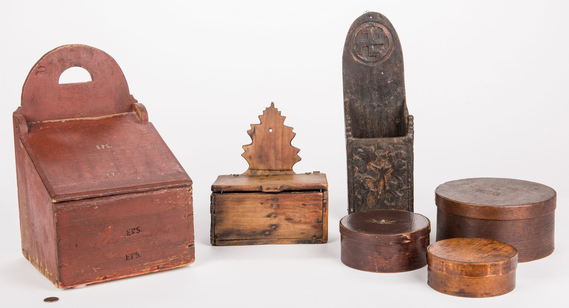 Lot 808: Group of 6 Wooden Storage Boxes