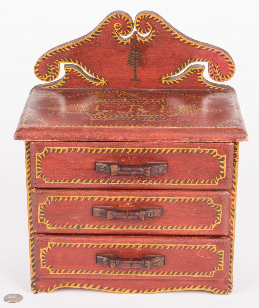 Lot 809: Attr. Soap Hollow Miniature Chest, Signed