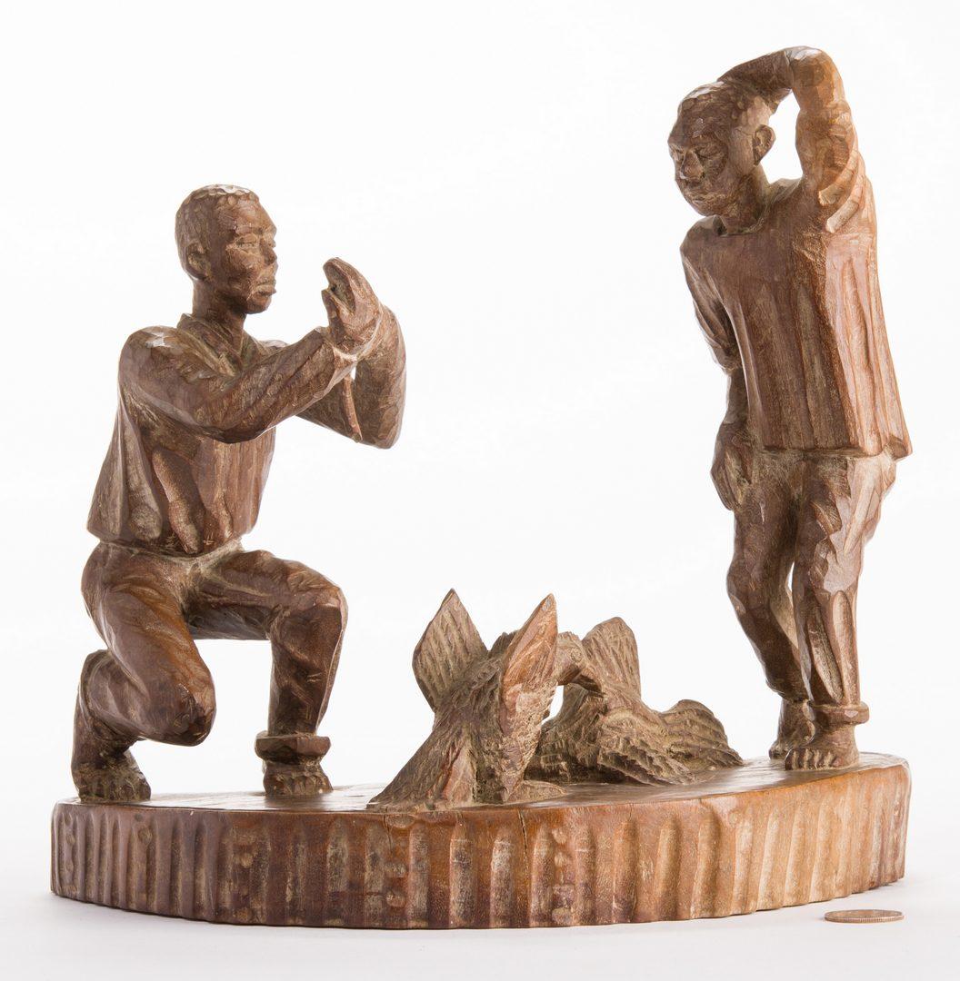 Lot 816: American Folk Art Carving, Cock Fighting