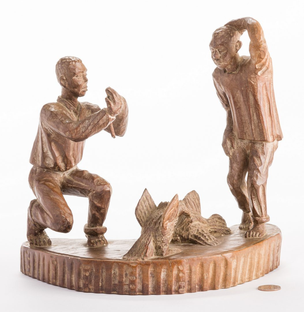 Lot 816: American Folk Art Carving, Cock Fighting