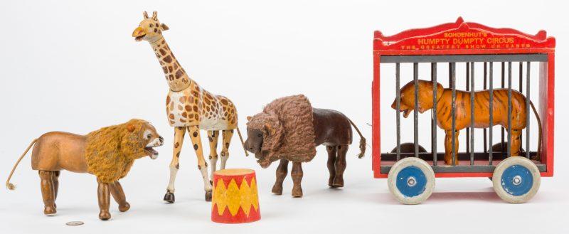 Lot 822: 6 Schoenhut Circus & Safari Items