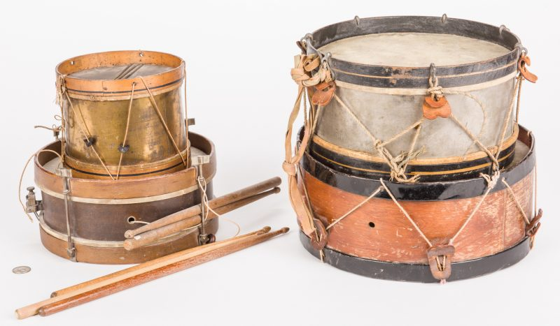 Lot 823: 4 Antique Snare Drums