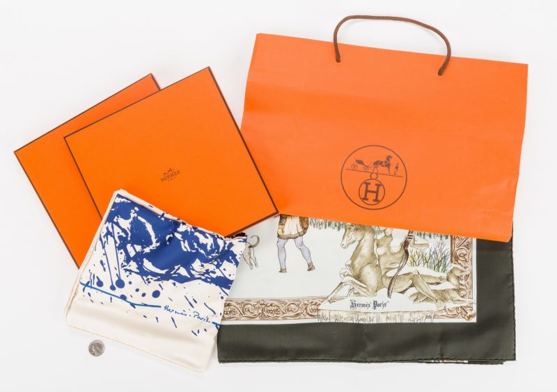 Lot 835: 2 Hermes Ladies Silk Scarves
