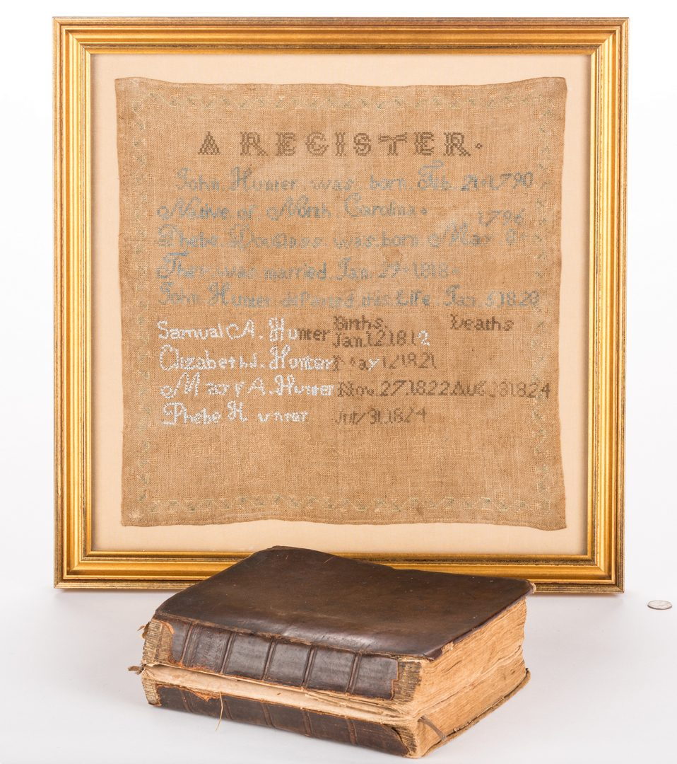 Lot 843: Knox County TN Register Sampler & Family Bible, 2 items
