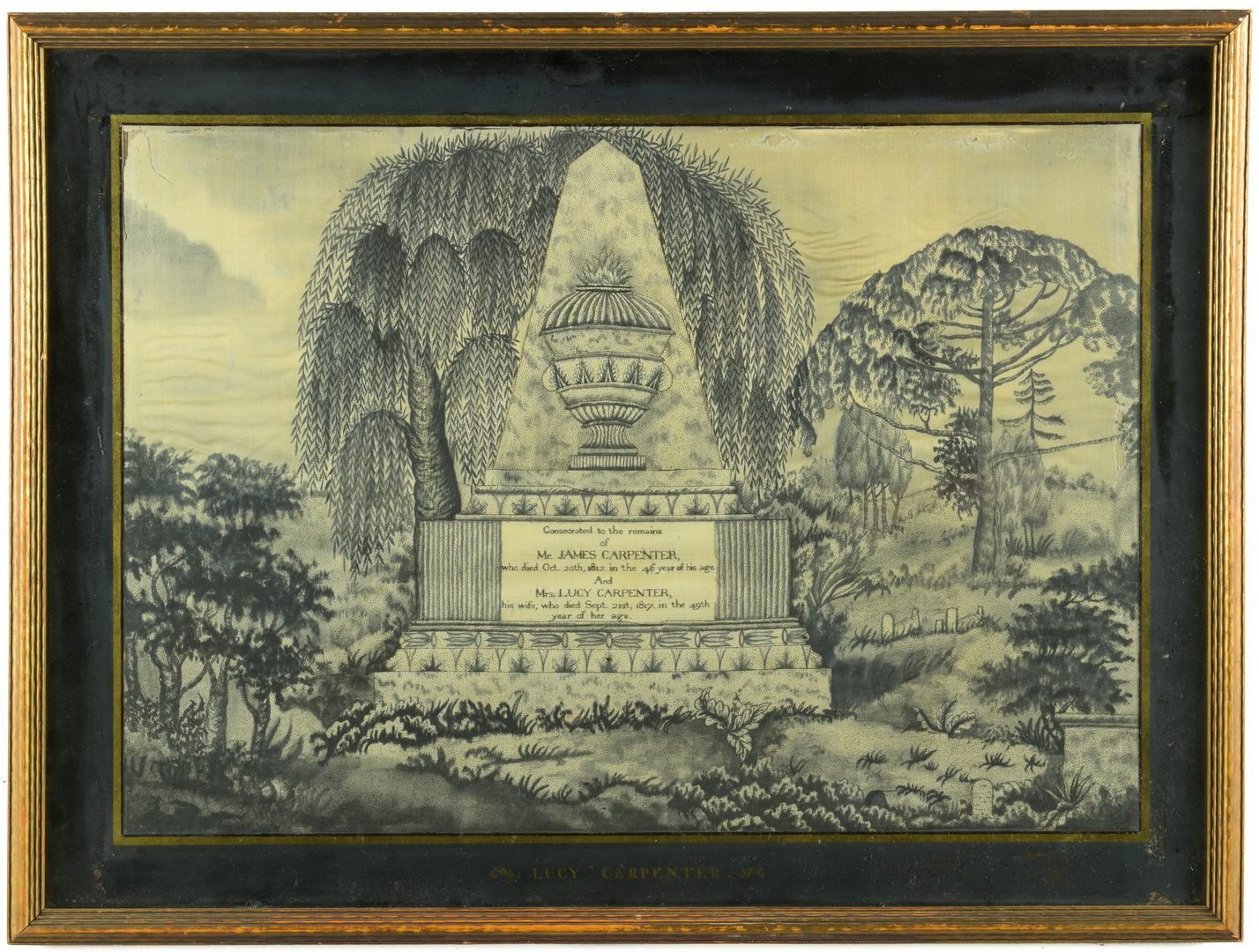 Lot 847: Mourning Needlework, Mary Balch School