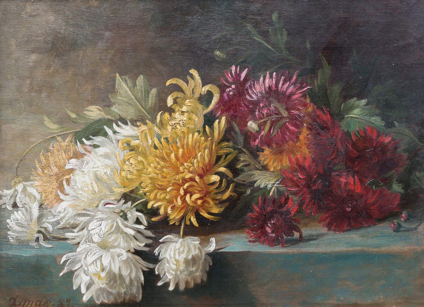 Lot 851: 2 American School Floral Still Lifes