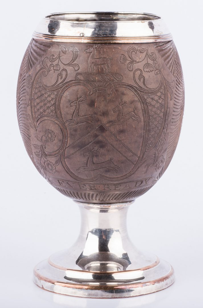 Lot 866: Armorial Carved Coconut Cup
