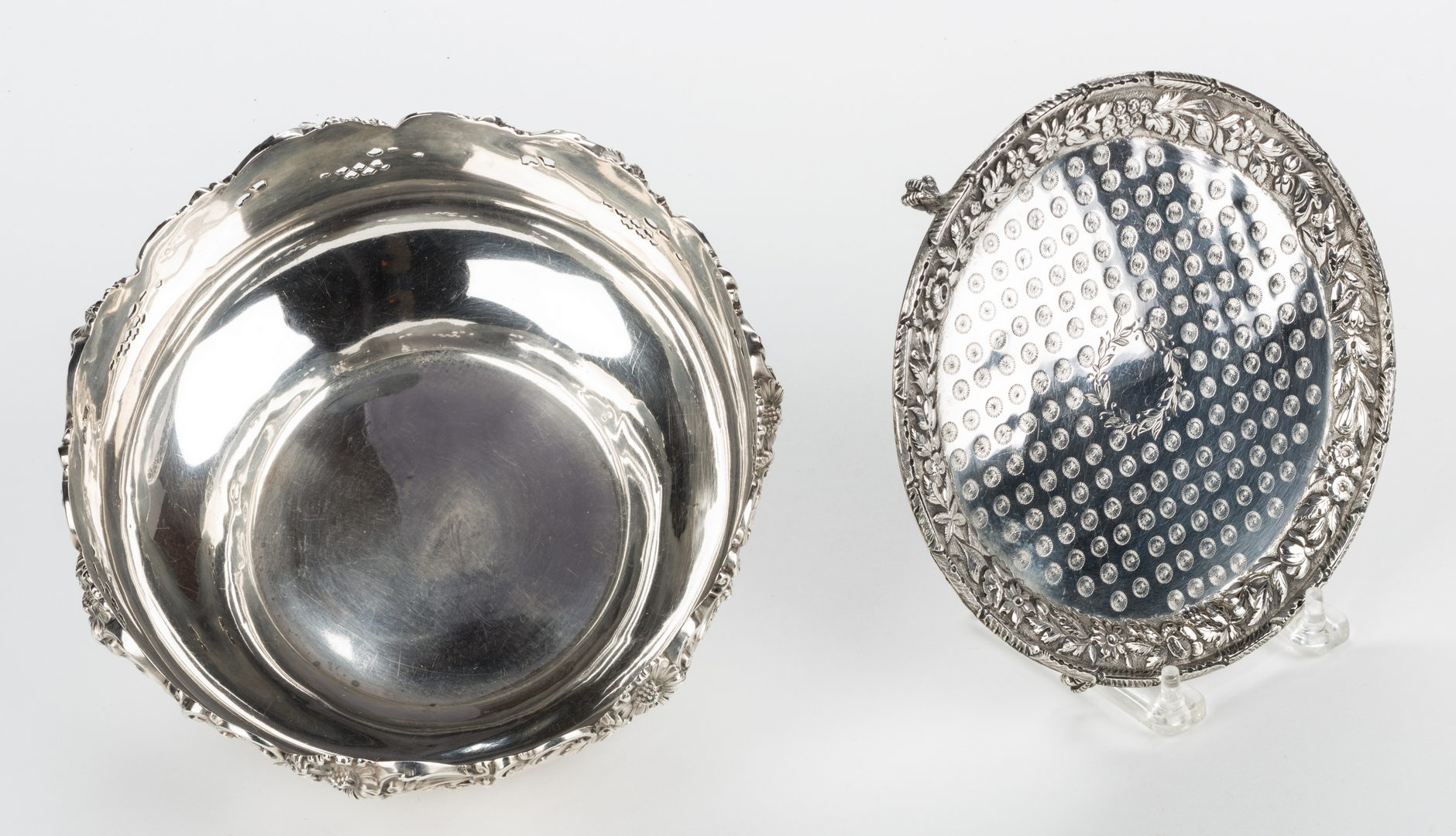 Lot 872: 2 Sterling Repousse Items incl. Kirk tray