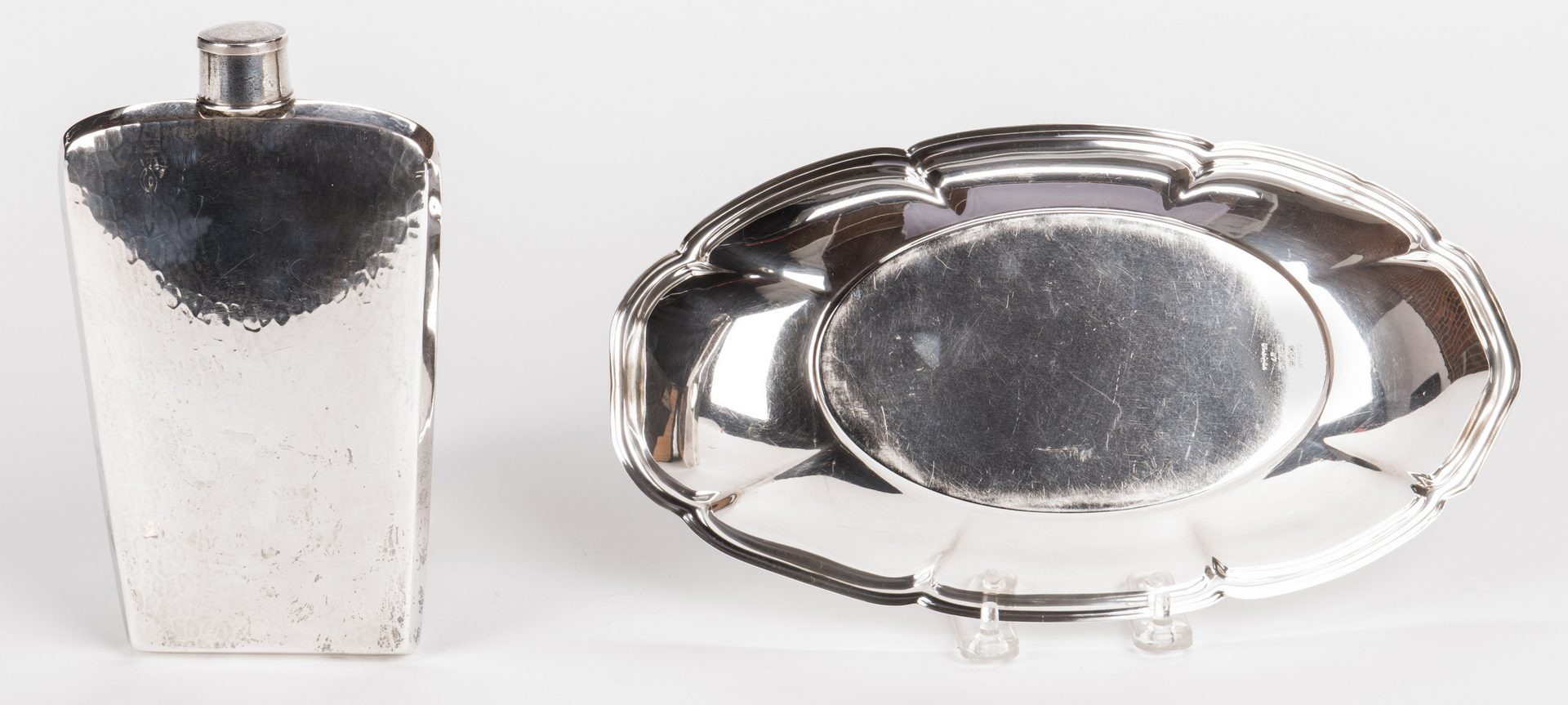 Lot 879: Sterling Flask and Bread Tray – 2 pcs