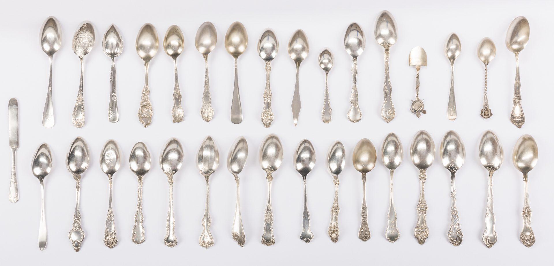 Lot 880: Vintage Sterling Souvenir Spoons plus more, 37 pcs