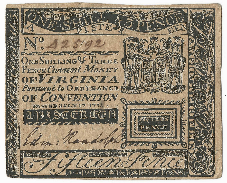 Lot 887: Virginia Pistereen Note, E. Randolph Signature, 1775
