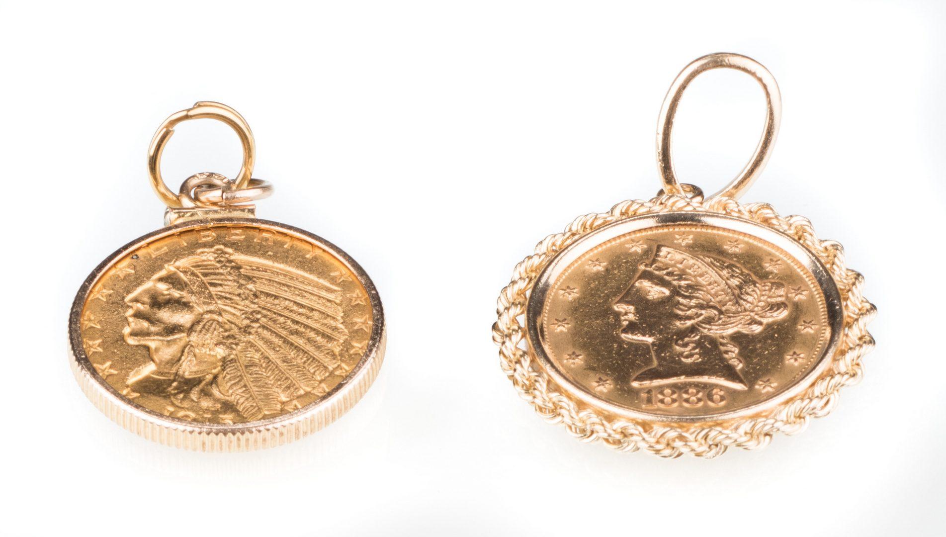 Lot 893: $5 Liberty Head & $5 Indian Head Gold Coins