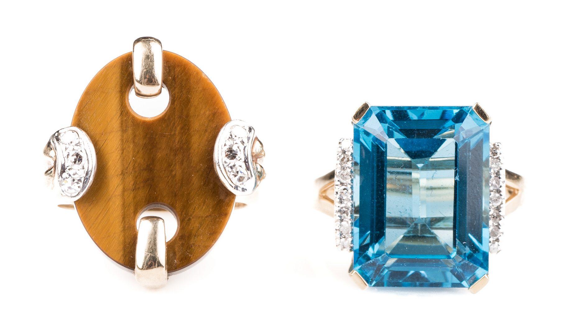 Lot 896: Two 14K Fashion Rings, Blue Topaz & Tiger's Eye