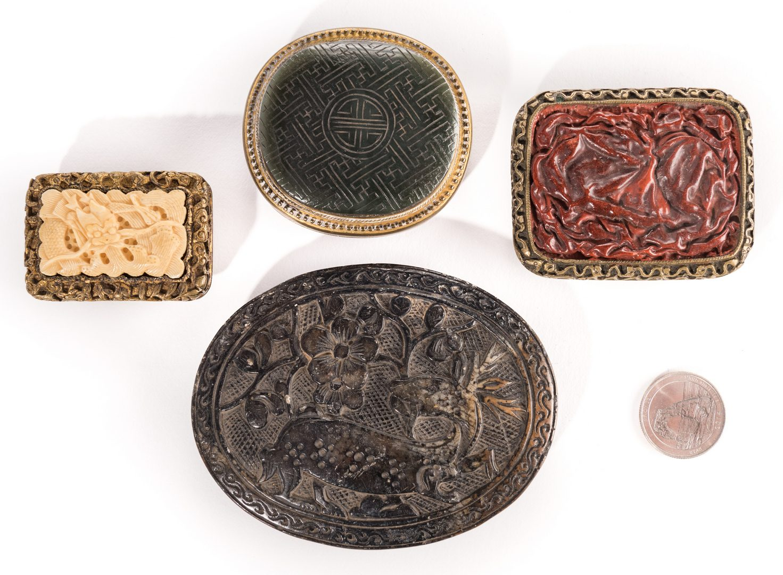 Lot 8: 4 Chinese Belt Ornaments, inc. Jade