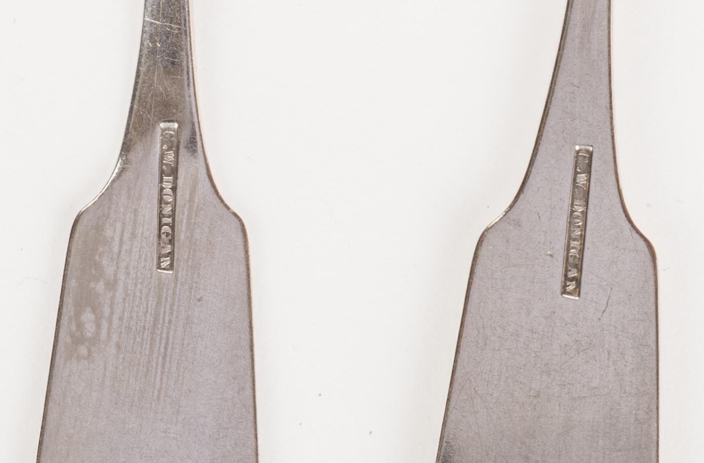 Lot 90: Donigan TN Coin silver flatware, 14 pcs