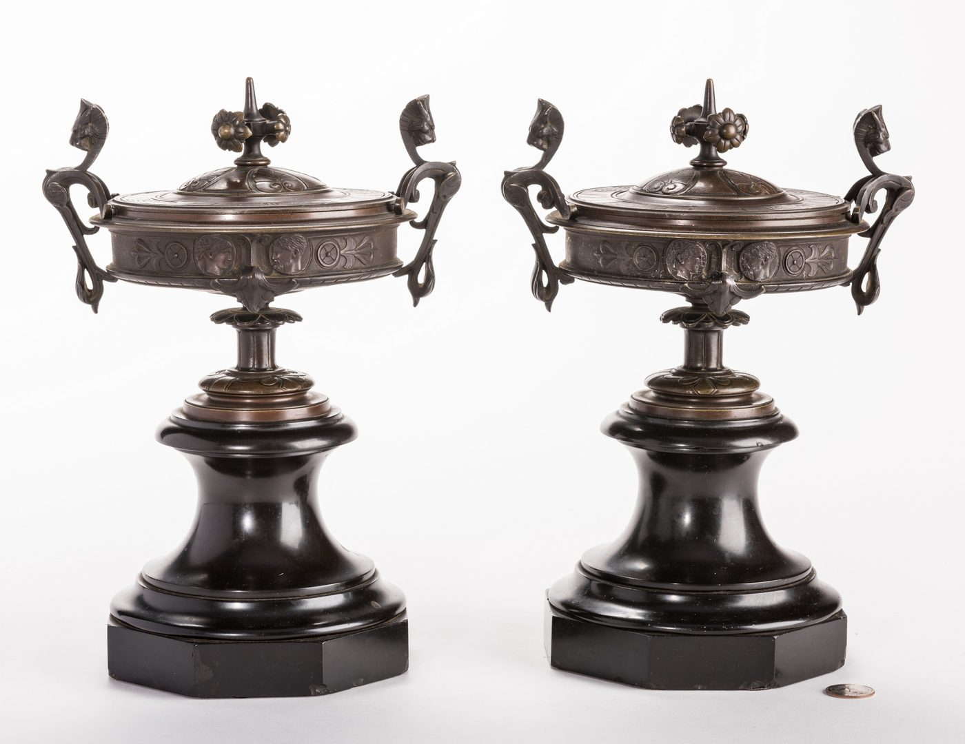 Lot 94: Pr. French Bronze Classical Urns on Marble bases