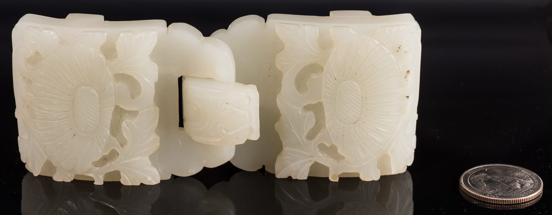 Lot 9: Chinese Celadon Jade Double Belt Buckle