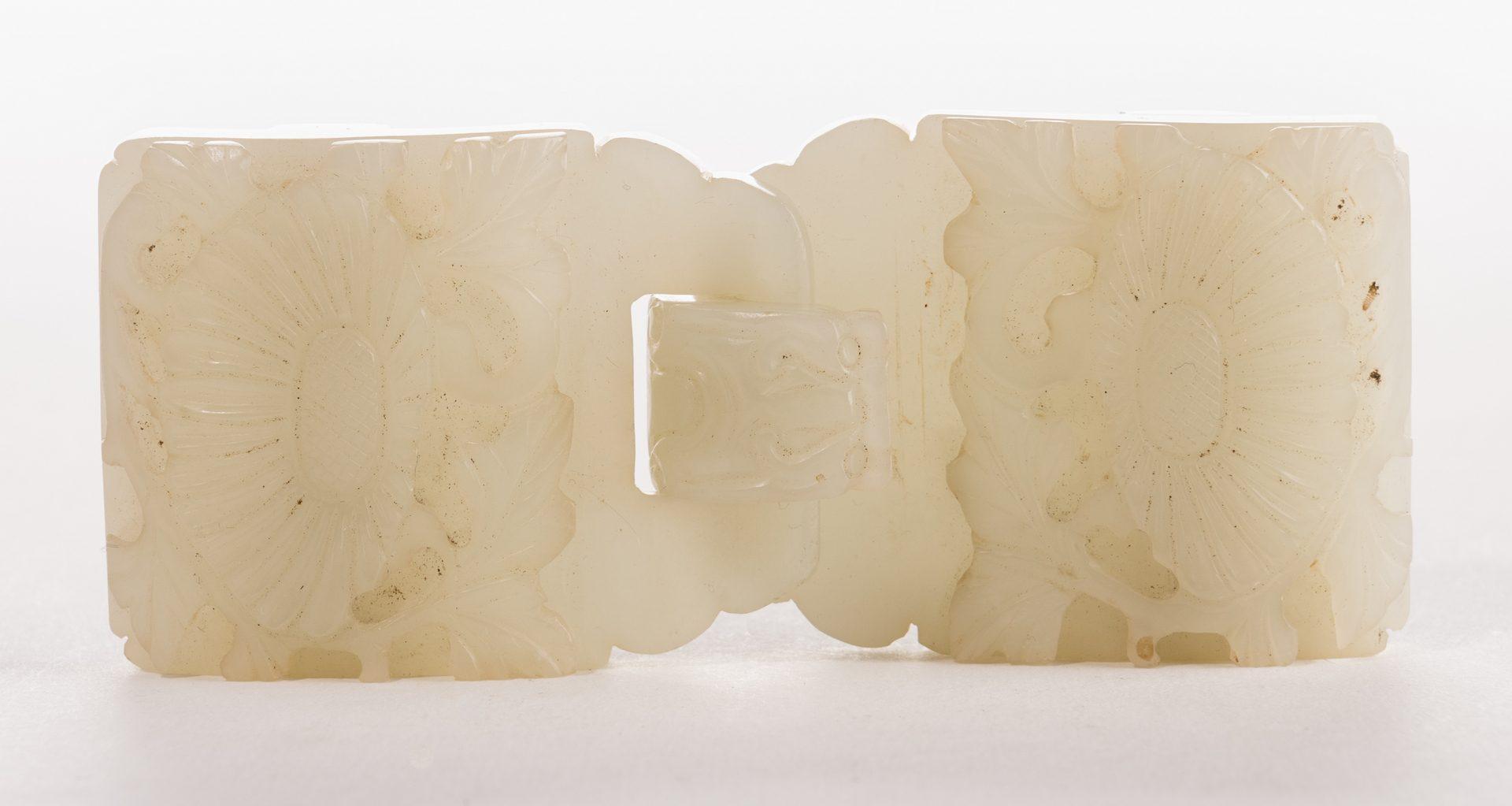Lot 9: Chinese Celadon Jade Double Belt Buckle