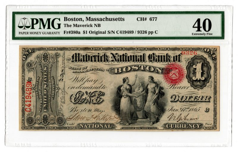 Lot 100: 1865 $1 Maverick National Bank of Boston National