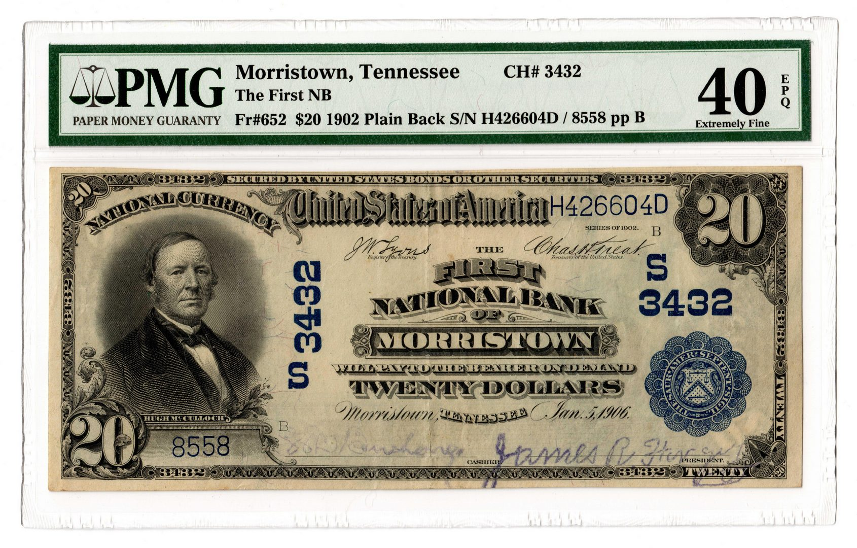 Lot 102: 1902 $20 First National Bank of Morristown Nationa