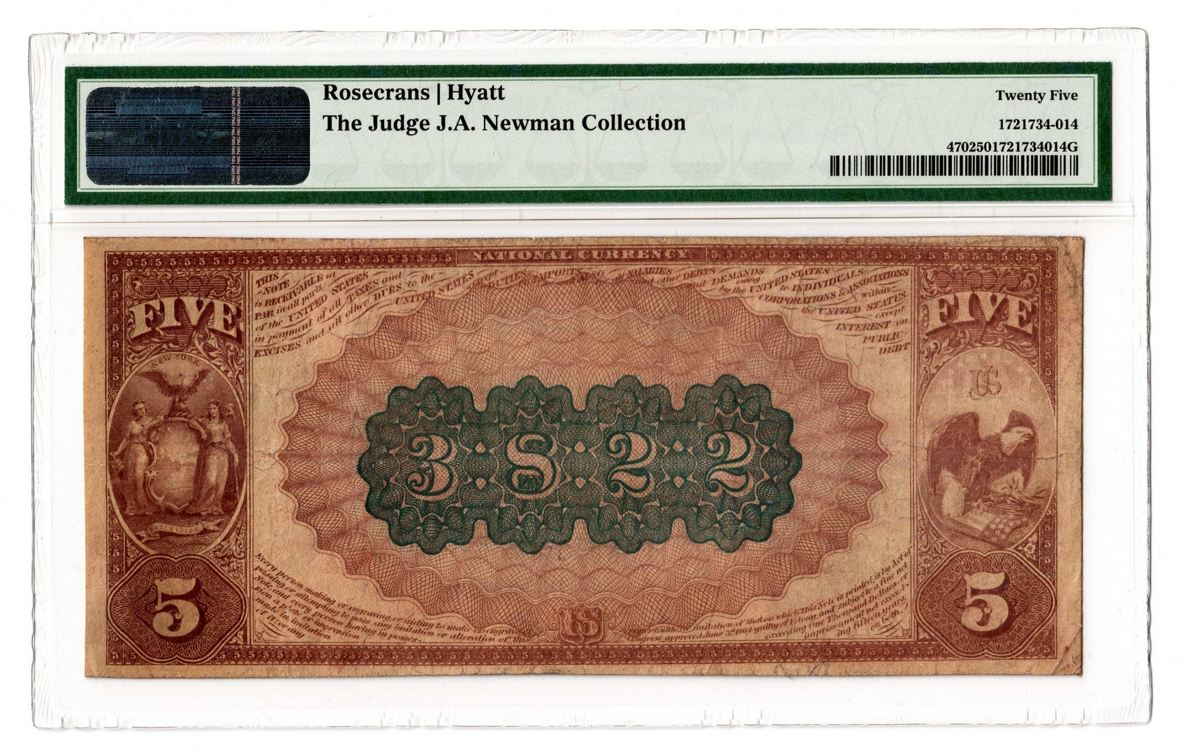 Lot 103: 1882 $5 Sidney National Bank of New York National