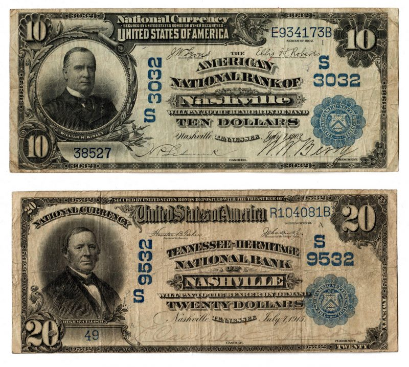 Lot 104: TN 1902 Blue Seal National Currency Notes Pair