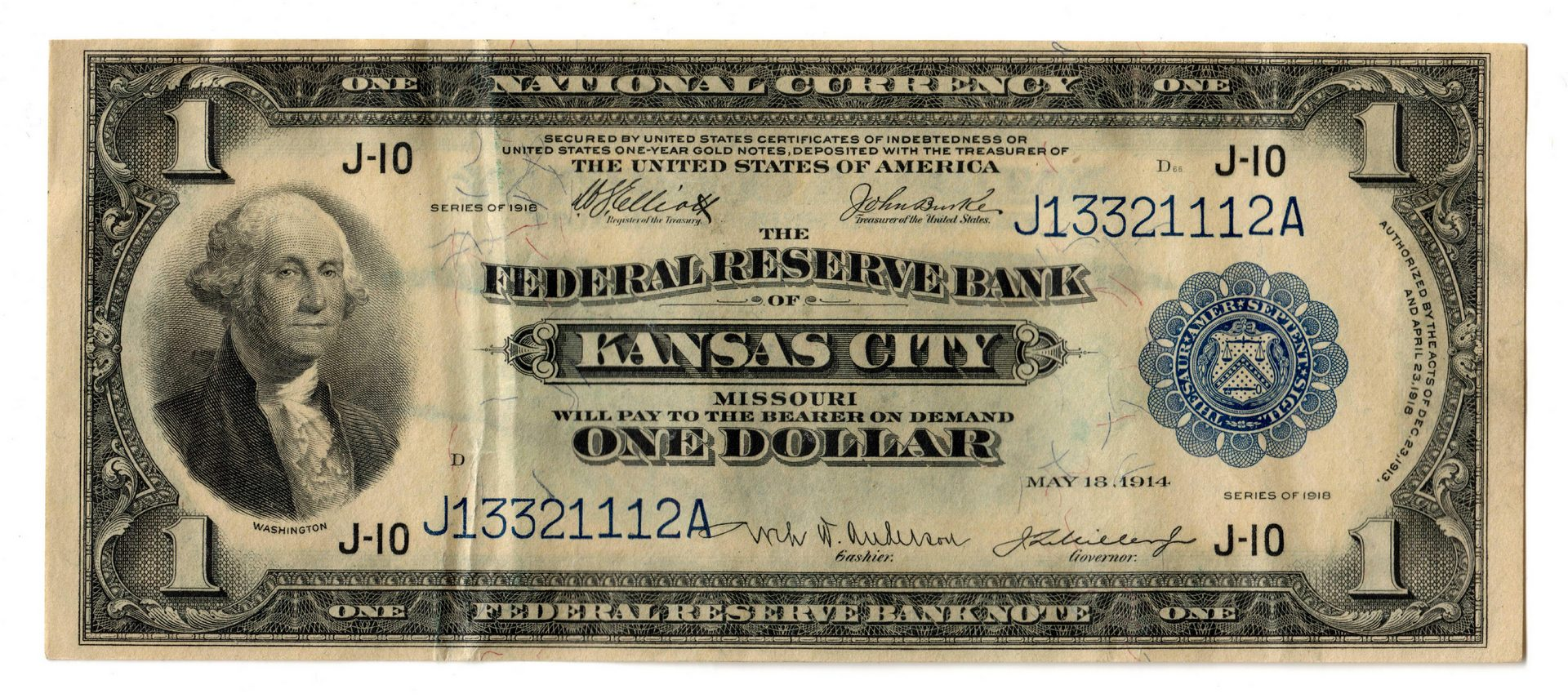 Lot 105: Midwest Group; Four $1 Blue Seal National Currency