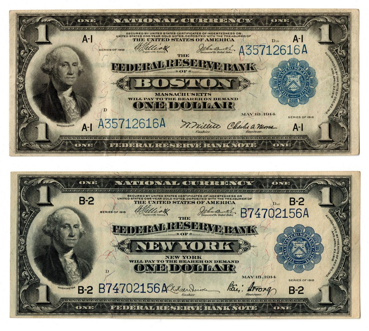 Lot 106: Northern Pair; $1 Blue Seal National Currency Note