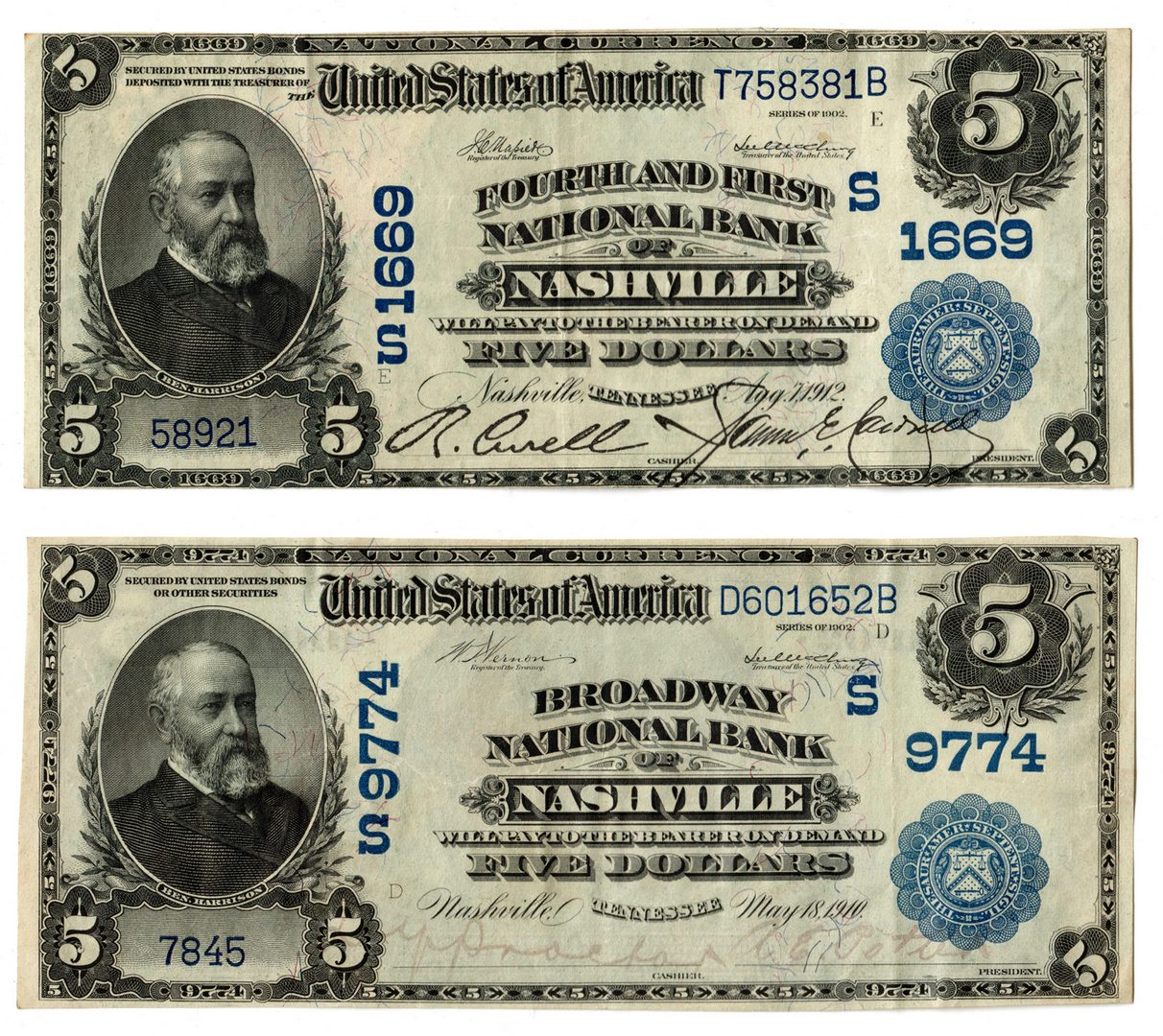 Lot 107: TN Pairing; $5 Blue Seal National Currency Notes