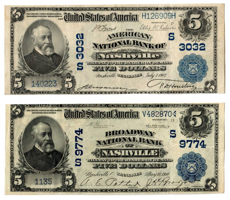 Lot 108: Two TN $5 Blue Seal National Currency Notes