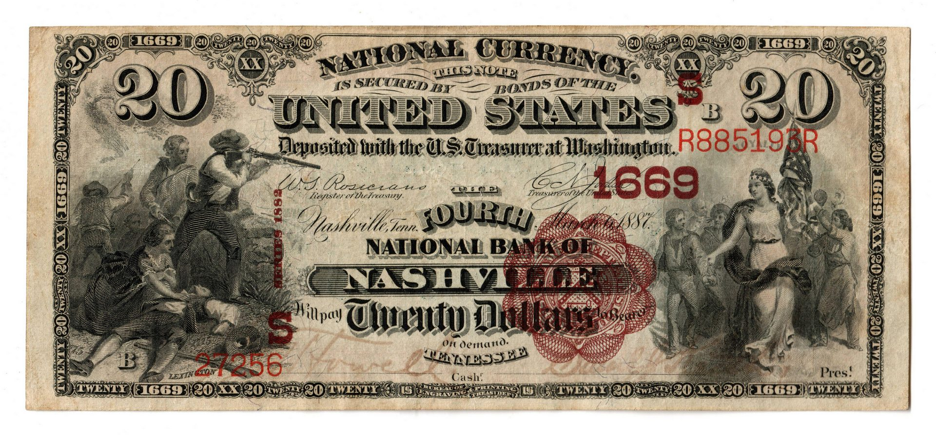 """Lot 109: 1882 TN $20 """"Brown Back"""" National Currency Note"""