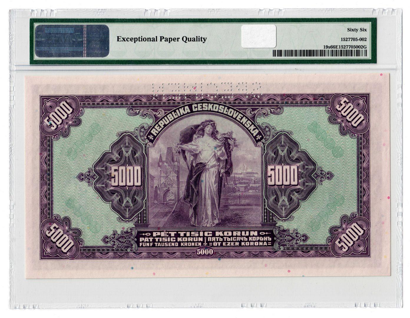 Lot 115: 1920 Czechoslovakia 5000 Korun Specimen Banknote