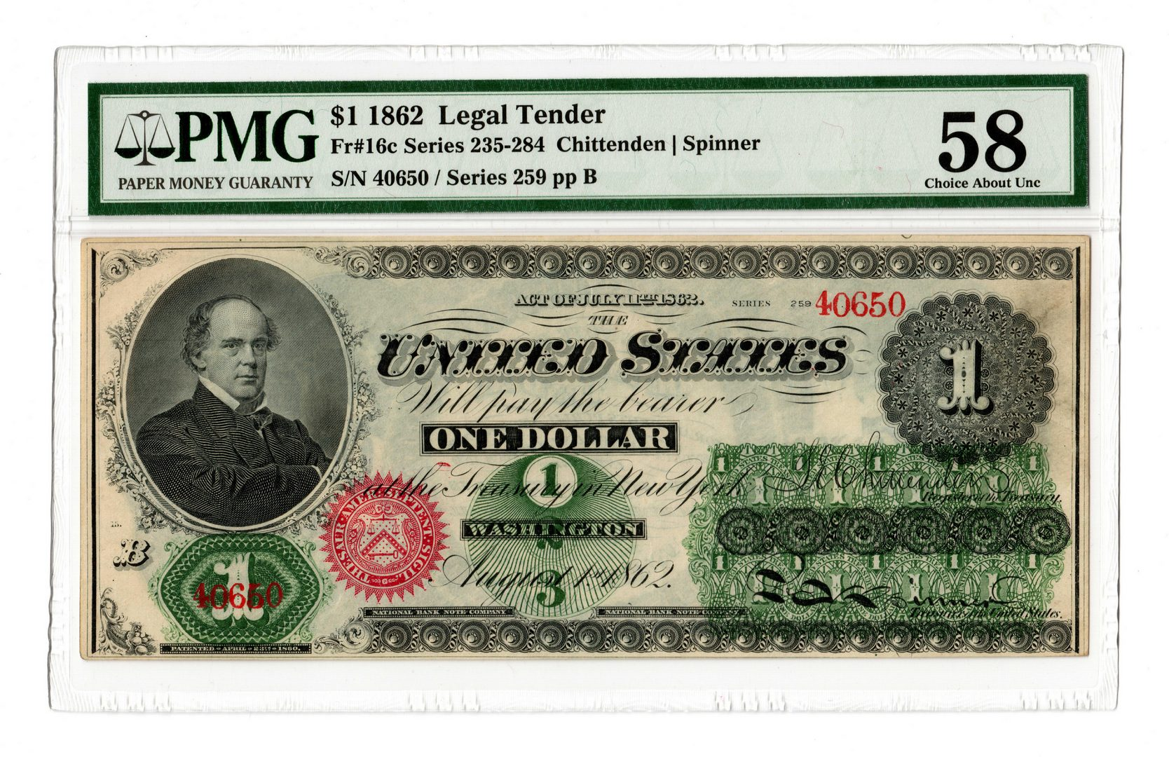 "Lot 11: 1862 U.S. $1 ""Greenback"" Legal Tender Note"
