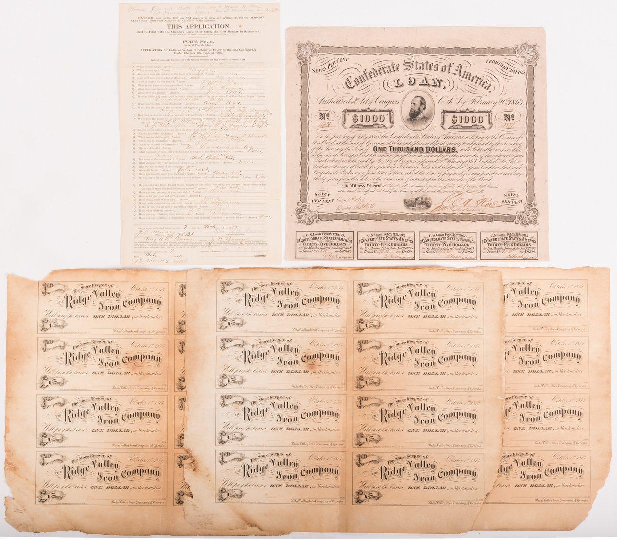 Lot 120: 8 Civil War and Post War Items, inc. Bonds
