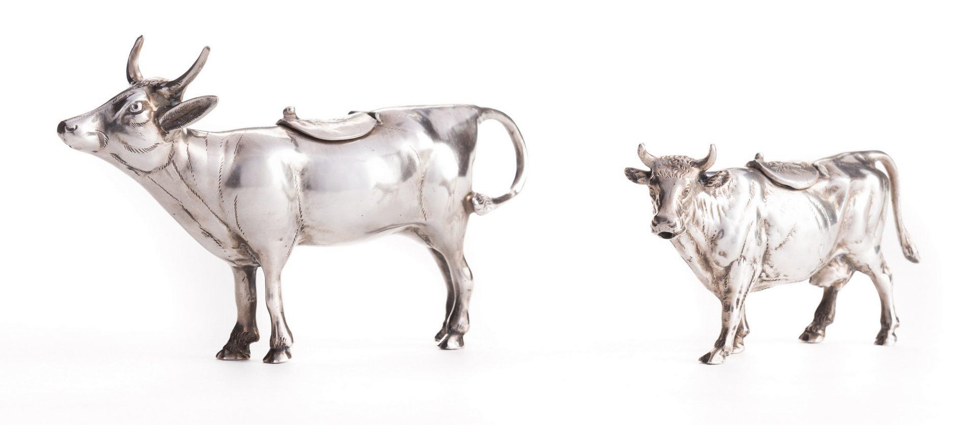 Lot 122: 2 German Sterling Cow Creamers