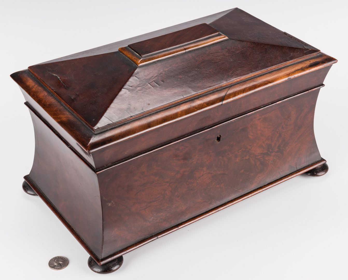 Lot 128: Large Regency Sarcophagus Tea Caddy