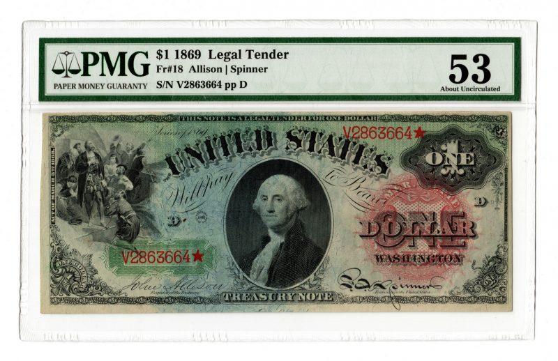 """Lot 12: 1869 U.S. $1 """"Rainbow"""" Legal Tender Note, Star"""